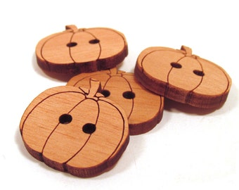 Wooden Pumpkin Buttons - Laser Engraved Wooden Buttons