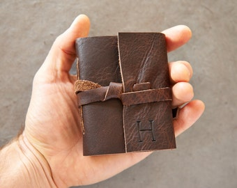 Dark Brown Leather Journal or Sketchbook - Personalized with Initials- Pocket Size