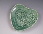 Heart Shaped Trinket Tray Celadon Green Love