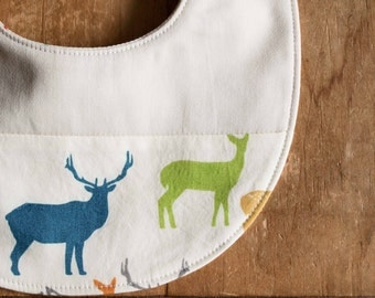 Organic Baby Bib in ELK FAMILY; Multi-color Elk Gang Baby Bib, New Baby Gift by Organic Quilt Company