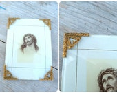 Vintage Antique 1900 old French Jesus photo frame with gilted edges removable