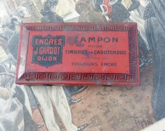 Vintage Antique 1900/1930 ink pad / tin box