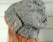 Slouchy Knit Hat, Women's Hat, Chunky Hat - Gray Hat - Slouchy Hat - Vegan Hat - THE GENESEE
