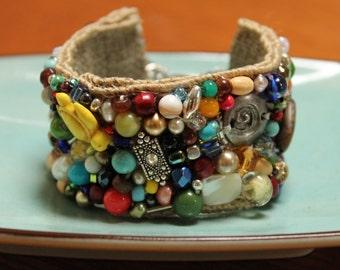 Southwestern beaded hand stitched cuff statement bracelet on burlap ribbon FREE SHIPPING