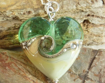 Harmony Heart handmade glass bead pendant - UK, SRA