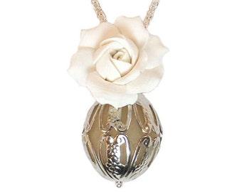 Scented Gardenia Perfume Necklace - Gardenia Fragrance Necklace, Gardenia Jewelry, Gardenia Gift, Flower Jewelry