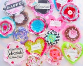 Big Handmade Valentine Embellishment Kit for Scrapbooking and Hair Accessories