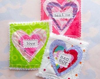 Hand Cut Fabric Hearts Applique Embellishment Set of Three