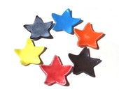 Star Ring Dish Set of 6 Stars Cute Party Favor Ceramic Pottery Star Miniature Dish Ring Dishes Tiny Star Shower Favors BFF Gift Office Gift