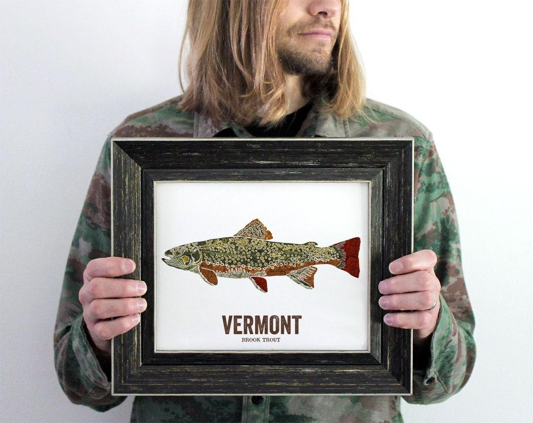 Vermont state fish nature art outdoor art vintage map art for Vermont state fish
