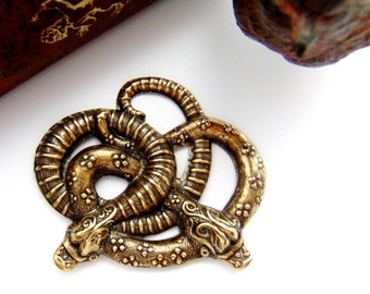Light ANTIQUE BRASS (2 Pieces) Large Entwined Garden Snakes Stamping - Jewelry Ornamental Findings (FB-6085) #