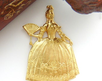 BRASS * Large Marie Antoinette French Queen Woman Stamping ~ Jewelry Ornament Finding ~ Brass Stamping (D-1)
