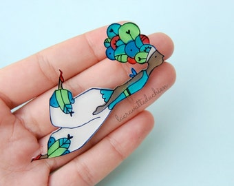Fairy brooch or necklace, fairy illustrated jewelry, girl figure brooch