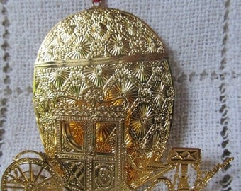Vintage 24KT Gold Finish Forbes Faberge Egg 3D Imperial Coronation Christmas Ornament, Limited