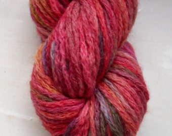 Hand painted yarn -  alpaca merino acrylic mix red, coral, mustard, grey 50g