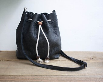 Black Leather Bucket Bag / Drawstring Bucket Bag / Leather Purse / Black Bucket Bag