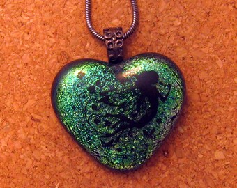 Dichroic Heart Pendant - Valentine Jewelry - Fused Glass Pendant - Dichroic Jewelry