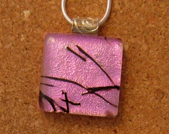 Dichroic Glass Pendant - Fused Glass Pendant - Fused Glass Jewelry - Dichroic Jewelry - Pink Dichroic Pendant