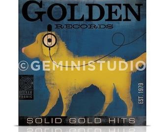 Golden records album style graphic artwork on gallery wrapped canvas illustration  by by stephen fowler