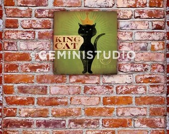 King Cat Fish Stick Co. black cat  illustration graphic artwork on gallery wrapped canvas by stephen fowler