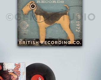AIREDALE records dog music graphic art illustration on gallery wrap canvas by Stephen Fowler