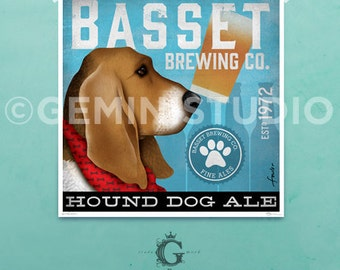 Basset Hound dog Brewing company vintage style graphic art giclee archival signed print by stephen fowler PIck A Size