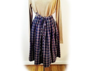 Upcycled Skirt, Grunge Skirt, Cotton Plaid, Blue Plaid, Tie Front, Gathered, Street Couture, One of a Kind, School Girl, Vintage Revamp,