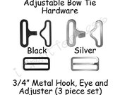 "50 Sets Adjustable Bow Tie Hardware Fastener Clips - Rectangle Slide Adjuster, Hook and Eye - 3/4"" Black or Silver Metal - SEE COUPON"