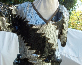 Silver Black n Gold Sequin Top vintage India Import Flash Deco Feel approx sz 32 34 36 bust