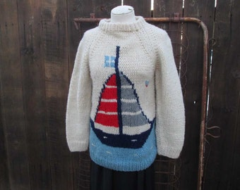 Vintage Sailboat Sweater 80s Wool pullover White Nautical sweater Blue ocean sweater navy red boat sweater S M