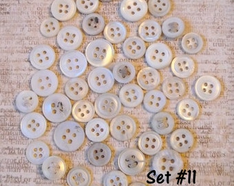 Vintage White and Ivory Genuine Mother of Pearl Shell Buttons - 50 small to medium sized buttons - beautiful lustre