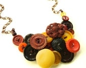 Autumn Spice Button Necklace with Rust, Pumpkin, and Mustard Colors