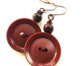 Rich Brown Vintage Button Dangle Earrings