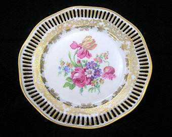 Winterling Porcelain Plate, Germany, Reticulated Edge, Vintage c1940-50s, Center Floral Design, Gold Paint, Mid-Century Porcelain China
