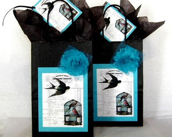 Two Gift Bags French Bird and Birdcage Black, White, and Aqua Paper Gift Bag Sets