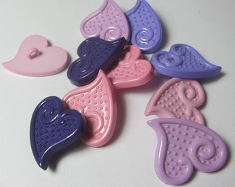 Assorted Hearts Novelty Buttons