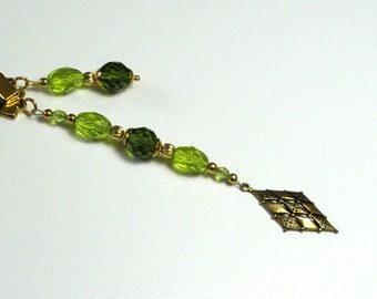 Bookmark Ribbon Charm Glass Beads Green Beaded