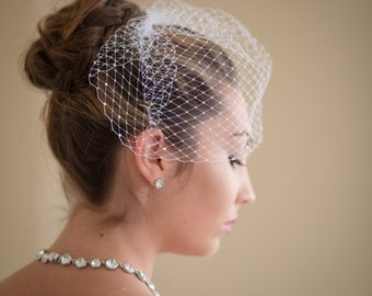 Small Birdcage Blusher Wedding Veil with Rhinestones 25 Colors Available