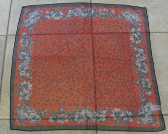 Aurora Red and Grey Flower Polyester Square Scarf
