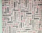 Travel Bag Water Resistant Lining Pink Paris Print
