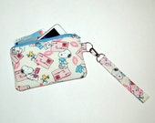 Wristlet Purse with Removable Strap and Interior Pocket - Handcrafted from Snoopy S.W.A.K. Love Letter Fabric