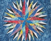 """Mariner's Compass or Blazing Star 30"""" Batik Quilt Top or Block Ready to Ship by Patchmaker"""