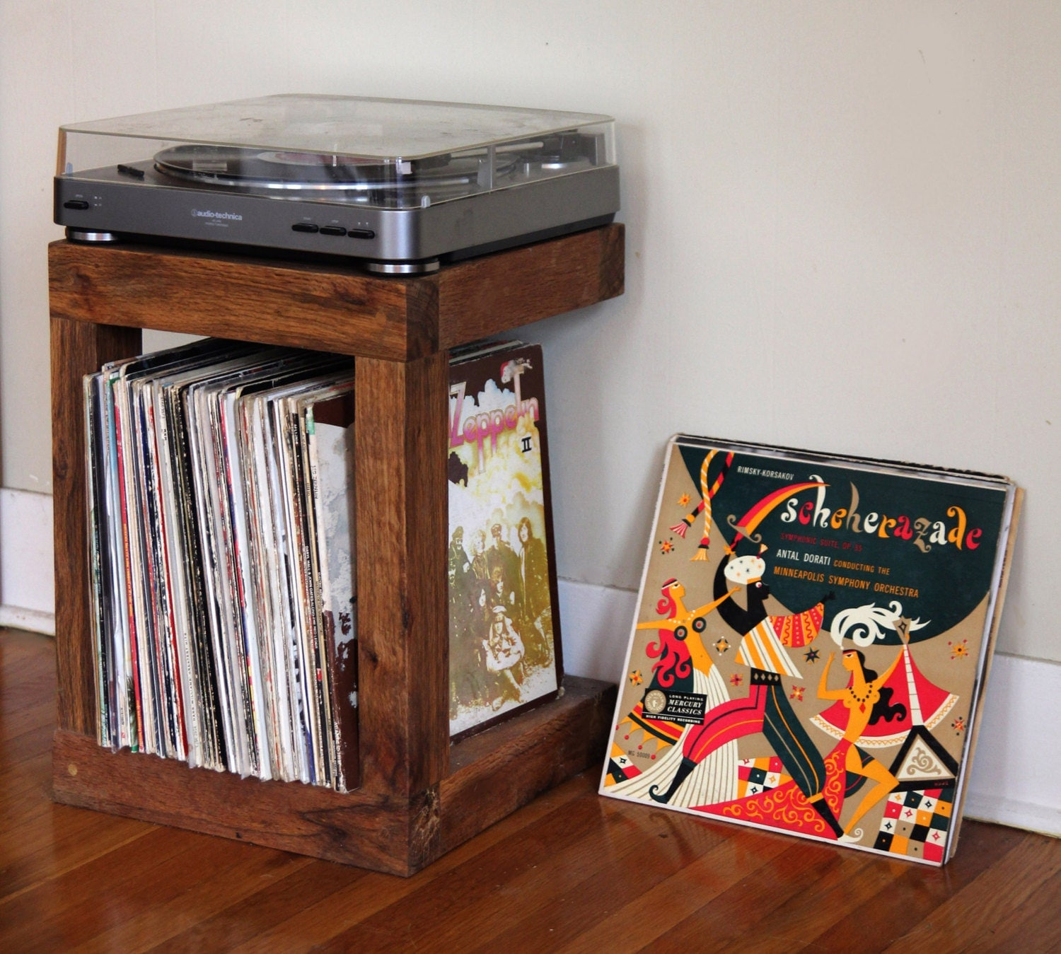 Handcrafted Record Player Stand Made From Reclaimed Wood