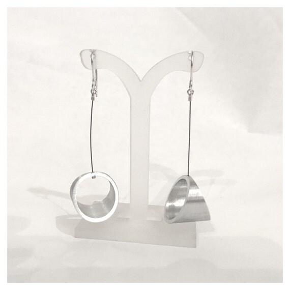 Kandinski large silver and aluminum Earrings