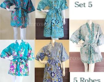 5 Blue Shade Flowers Kimono Thai Batik Wedding Party Bridesmaid Dance Kids Short Long bath robe M-XL (NO.5) Free shipping