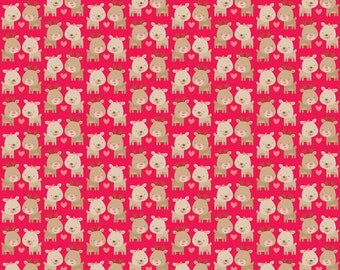Christmas Fabric, Deer Fabric, Cotton Fabric by the Yard, Home for the Holidays by Riley Blake Fabrics- Reindeer in Red- Fat Quarter