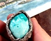 a year of beauty eco silver ring copper mountain chrysocolla fine silver ring with bright blue ombre stone 6 1/2 7