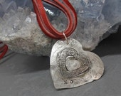 gossamer heart necklace in recycled silver  leather or silver chain options