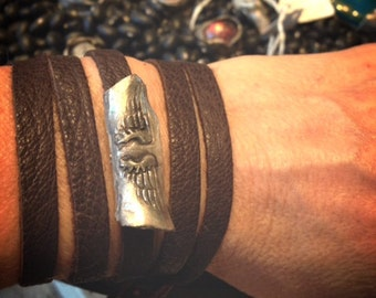 wing scroll convertible wrap bracelet and necklace in recycled fine silver and deeerskin