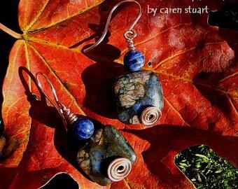 blue sodalite and rhyolite copper swirl handmade pierced earrings  jewelry